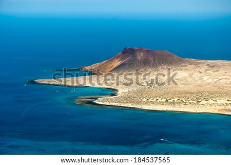 View of Isla Graciosa off the coast of Lanzarote - stock photo