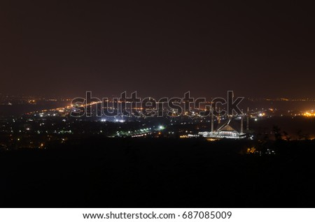 View of Islamabad City at Night View from Daman-e-Koh, Islamabad, Pakistan