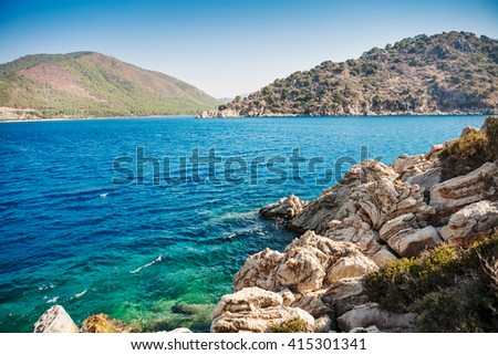 View of islands in Aeagean sea. Turkey. Marmaris - stock photo