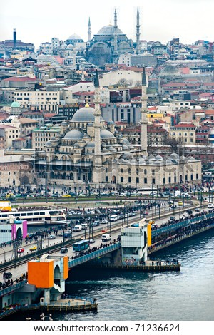 View of  Istanbul from Galata tower, Turkey. - stock photo