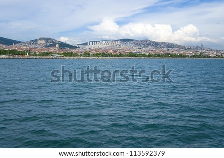 view of Istanbul from the Marmara Sea - stock photo