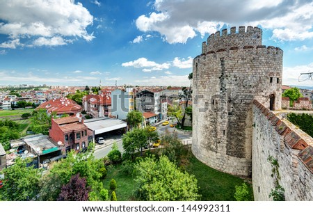 View of Istanbul from Yedikule Fortress. Yedikule fortress, or Castle of Seven Towers, is the famous fortress built by Sultan Mehmed II in 1458. - stock photo