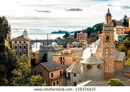 View of Italian town - stock photo