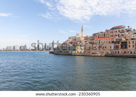 View of Jaffa with Tel Aviv in the background - stock photo