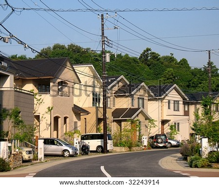 View of Japanese upper middle class suburbia illustrating the lack of space - stock photo