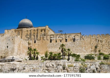View of Jerusalem and Temple Mount, one of the most important religious sites in the Old City of Jerusalem
