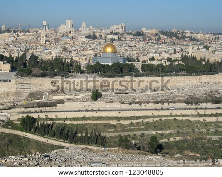 View of Jerusalem from mountain of Olives, (Israel) - stock photo