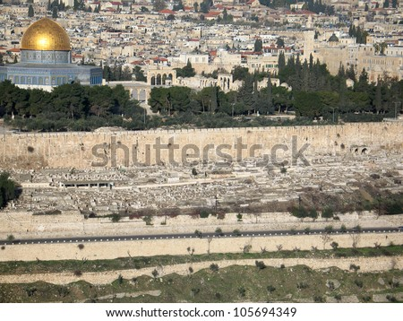 View of Jerusalem from mountain of Olives, (Israel) with isolated sky - stock photo