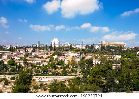 View of Jerusalem from old city. - stock photo