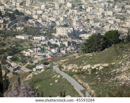 View of Jerusalem (Israel) with isolated sky and road