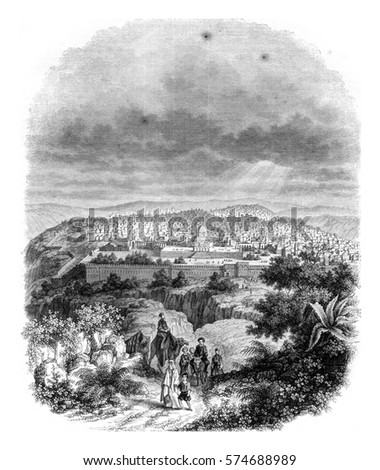 View of Jerusalem, vintage engraved illustration. Magasin Pittoresque 1845.