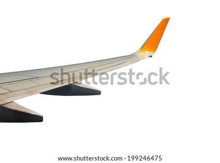 View of jet plane wing isolated on white background  - stock photo