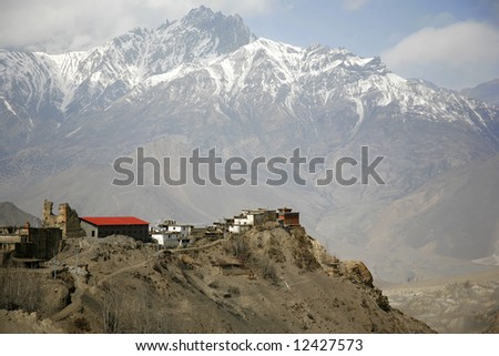View of Jharkot village and surrounding mountains from muktinath, annapurna, nepal