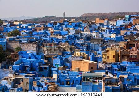 View of Jodhpur, the Blue City, Rajasthan, India - stock photo