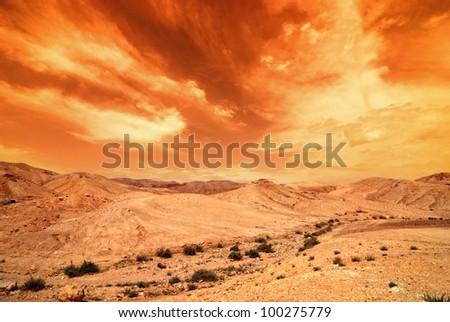 View of Judean desert landscape - stock photo