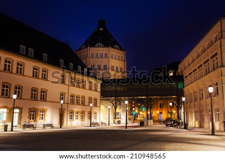 View of Judiciary City in Luxembourg at night - stock photo
