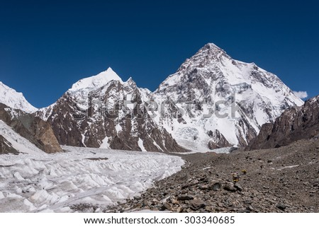 View of K2 on the way to K2 base camp, Pakistan