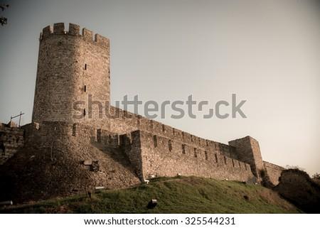 View of Kalemegdan fortress. Belgrade, Serbia. Color tone tuned. - stock photo