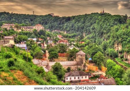 View of Kamianets-Podilskyi city - Ukraine - stock photo