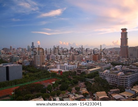 View of Kaohsiung towards the east at sunset time