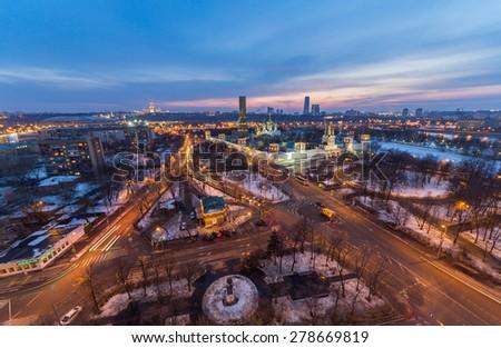 View of Khamovniki District, blue hour, Moscow - stock photo