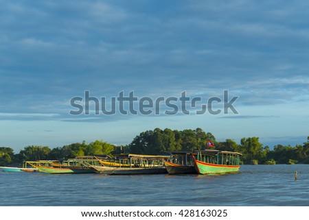 view of Khong river, Laos - stock photo