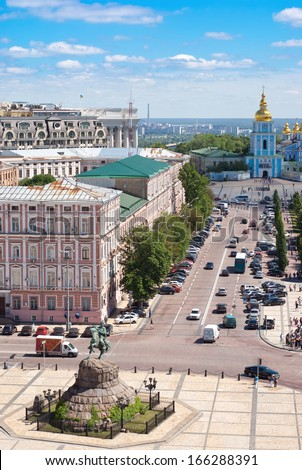 View of Kiev city center from the tower of St. Sophia/View of Kiev city center/View of Kiev city center - stock photo