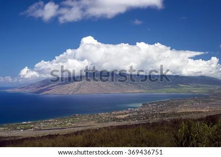 View of Kihei and Maalaea Bay from Piilani Highway, Maui, Hawaii -2 - stock photo