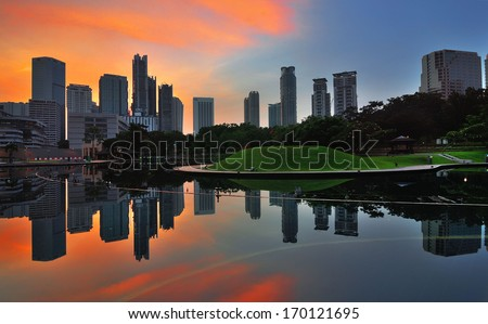 View of KLCC Park during sunrise - stock photo