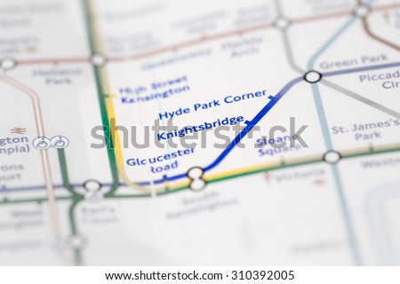 View of Knightsbridge station on a London subway map. (selective colouring) - stock photo