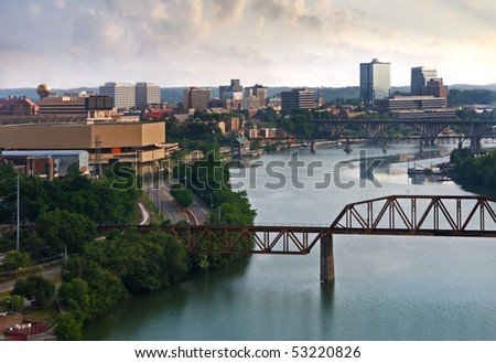 View of Knoxville, Tennessee. - stock photo