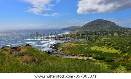 View of Koko Crater and Sandy Beach Park from Makapuu Point Lighthouse Trail, Oahu, Hawaii - stock photo