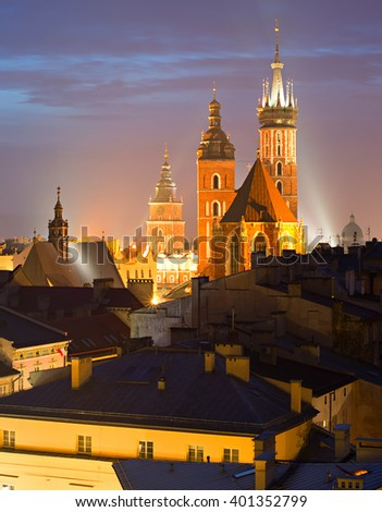 View of Krakow with St. Mary's Church at the Main Market Square