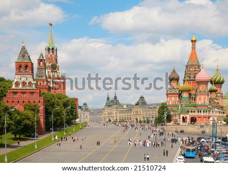 View of Kremlin and St. Basil's cathedral - stock photo