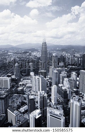 View of Kuala Lumpur cityscape in black and white - stock photo