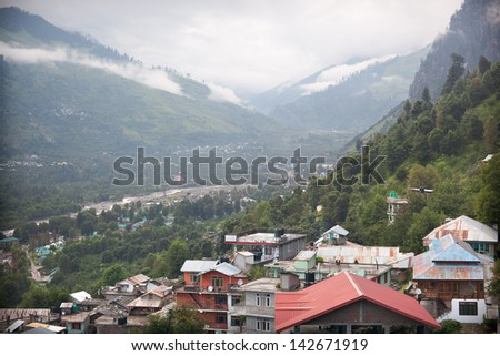 View of Kulu valley - Vashist village and Beas river, Himachal Pradesh, India