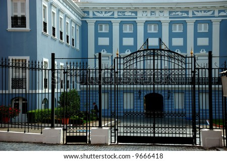 View of La Fortaleza Castle, official house of the governors of Puerto Rico. Magnificent example of Old San Juan Spanish architecture. - stock photo