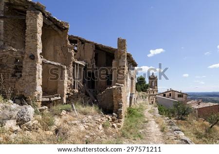 View of La Fresneda in Teruel, Aragon community. Spain - stock photo