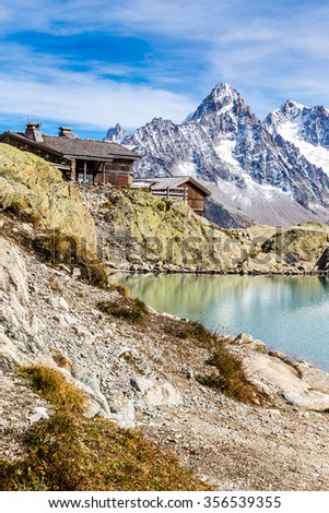 View Of Lac Blanc, Lac Blanc Refuge, Aiguille du Chardonnet, Aiguille d Argentiere And Aiguille de l A Neuve-Mont Blanc Area,France - stock photo