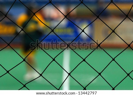 View of Lacrosse Through Netting - stock photo