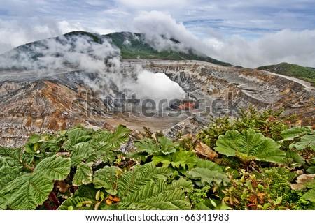 View of Laguna Caliente, an active crater of Poas volcano in Costa Rica - stock photo