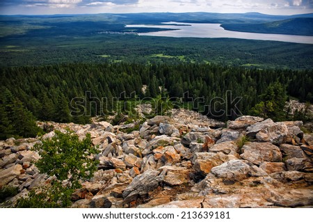 View of lake and tundra in the Zuratkul national park. South Urals, Russia. - stock photo