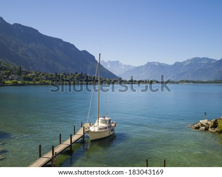 View of Lake Geneva from Chillon castle. Montreux. Switzerland. - stock photo