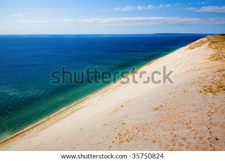 View of Lake Michigan from dunes - stock photo