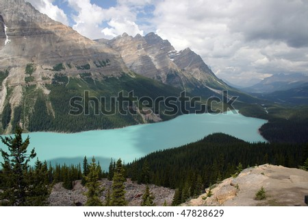 View of lake Peyto in Banff National Park. - stock photo