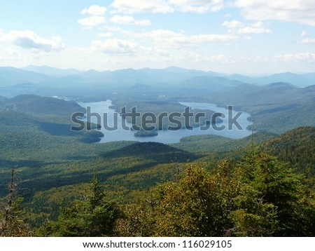 View of Lake Placid from Whiteface Mountain, Adirondack Mountains, New York State, USA - stock photo