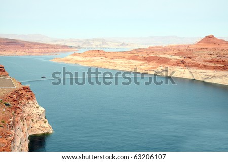 View of Lake Powell, the recreational jewel of the desert, with Wahweap Marina visible on the horizon