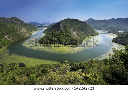 View of Lake Skadar, Montenegro - stock photo