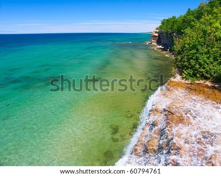 View of Lake Superior from the top of Spray Falls - Pictured Rocks National Lakeshore, Michigan - stock photo