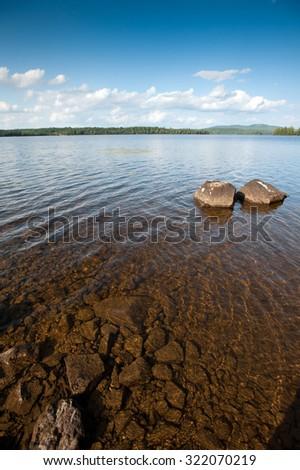 View of Lake Umbagog, New Hampshire. - stock photo